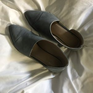 Dusty blue cutout booties